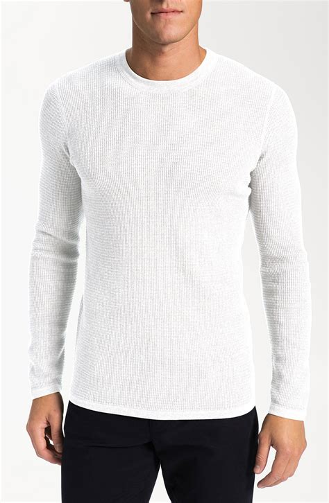 white knit sweater mens vince waffle knit sweater in white for lyst