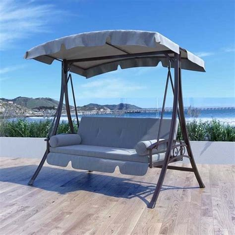 Grey Patio Swing Patio Swing With Arched Canopy In Charcoal Gray Pnt 532 S