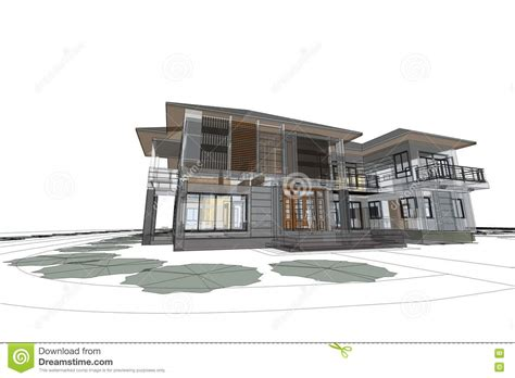 modern house drawing architecture drawing modern house 3d illustration stock