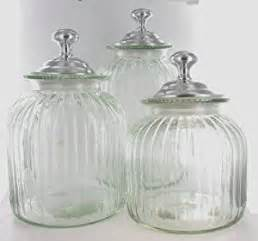 Glass Kitchen Canister Sets Clear Glass Blown Kitchen Canister Set