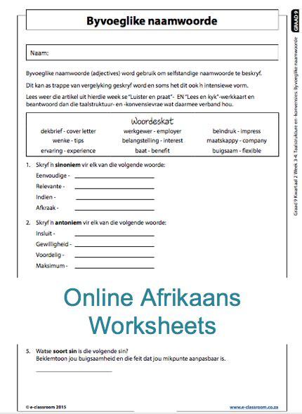 grade 9 afrikaans worksheets for more worksheets