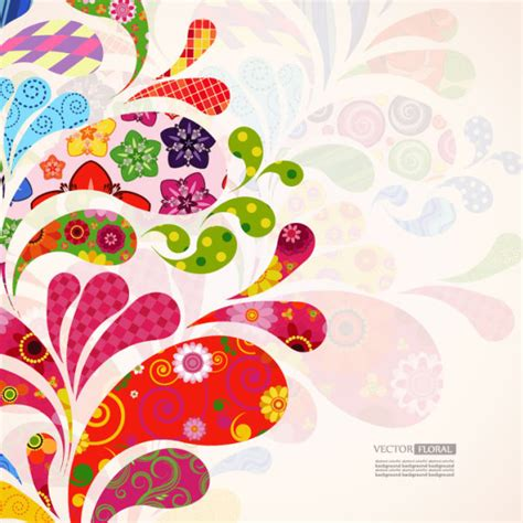 colorful card background design elements free vector in colorful floral elements background art vector 04 vector
