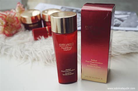 Estee Lauder Nutritious Vitality8 Radiant Dual Phase Emulsion 100ml estee lauder nutritious vitality8 skincare review sabrina tajudin malaysia
