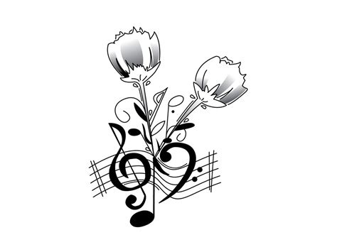 music notes with roses tattoo note tattoos designs clipart best
