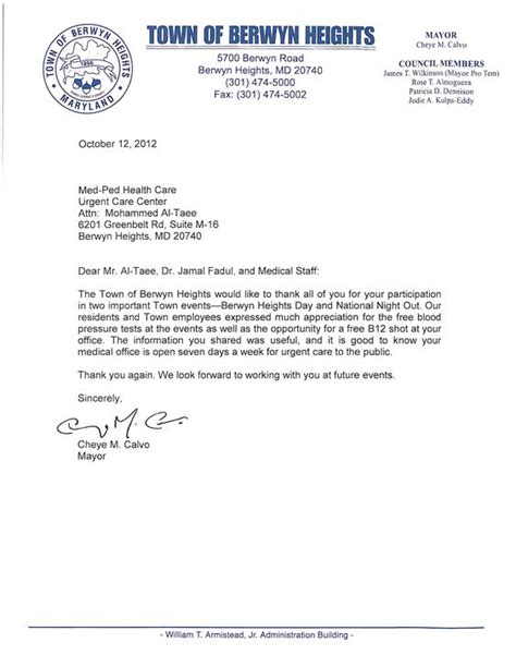 appreciation letter before appreciation letter form berwyn heights mayor thanking our