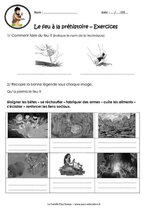 Le feu à la préhistoire - Ce2 - Cm1 - Exercices