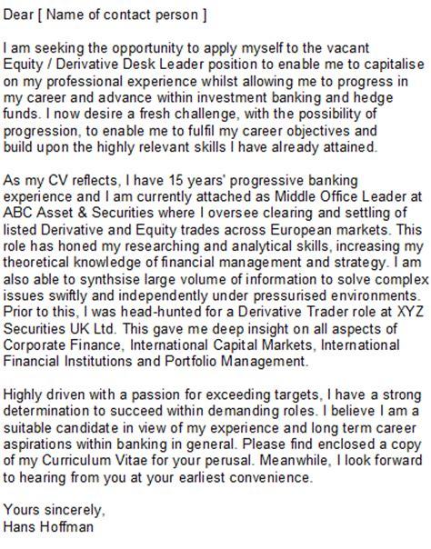 Investment Banking Cover Letter Sample