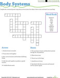 life science crossword body systems worksheet