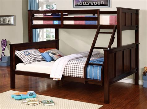 bunk bed queen contemporary dark walnut twin over queen bunk bed