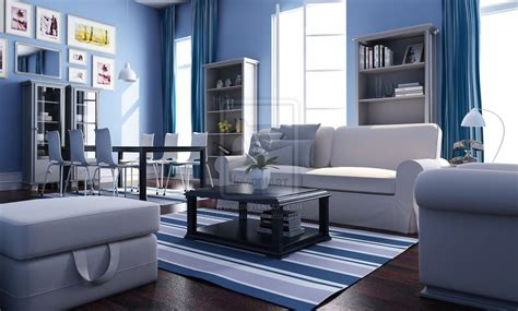 Blue And Living Room by And White Living Room Interior Theme Decosee