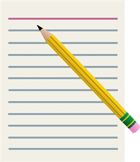 pencil writing on paper lined paper and yellow pencil free clip
