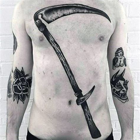 scythe tattoo 50 scythe designs for curved blade ink ideas