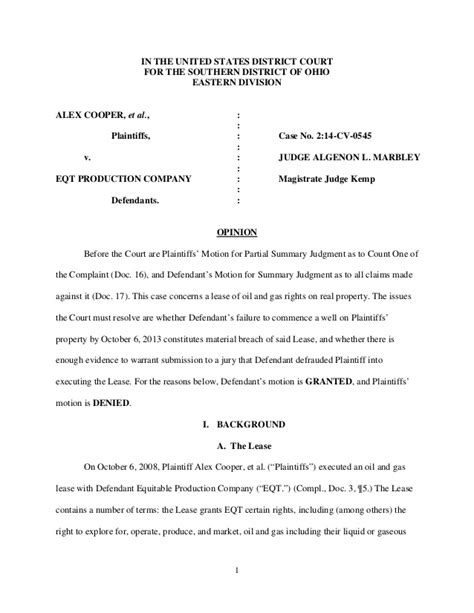 Ohio Federal Court Search Federal Court Decision In Alex Cooper V Eqt Production