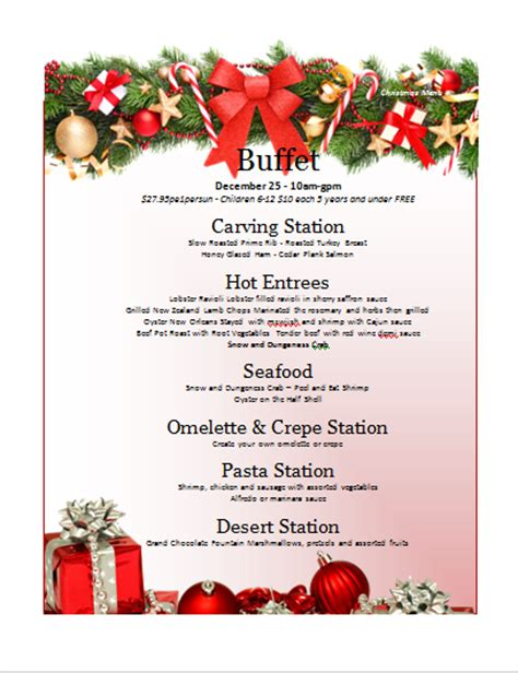 christmas menu template search results calendar 2015