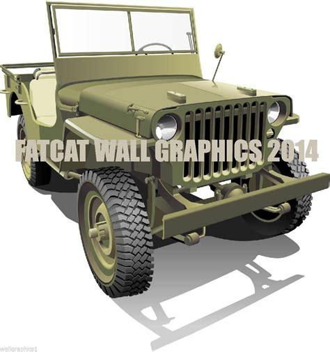ww2 jeep drawing fatcat wall graphics large green ww2 willis army jeep