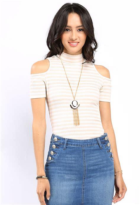 Mock Neck Striped Top mock neck striped top w necklace shop dressy tops at