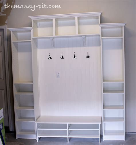 mudroom shelves diy mudroom shelving unit using ikea billy shelves nest cozy spaces pinterest mudroom