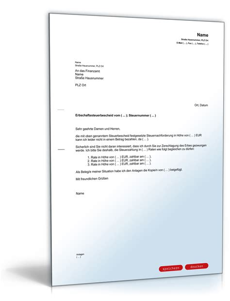 Musterbriefe Finanzamt antrag an das finanzamt auf zahlung der erbschaftssteuer