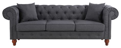 classic scroll arm tufted button chesterfield style sofa classic linen fabric scroll arm tufted button chesterfield