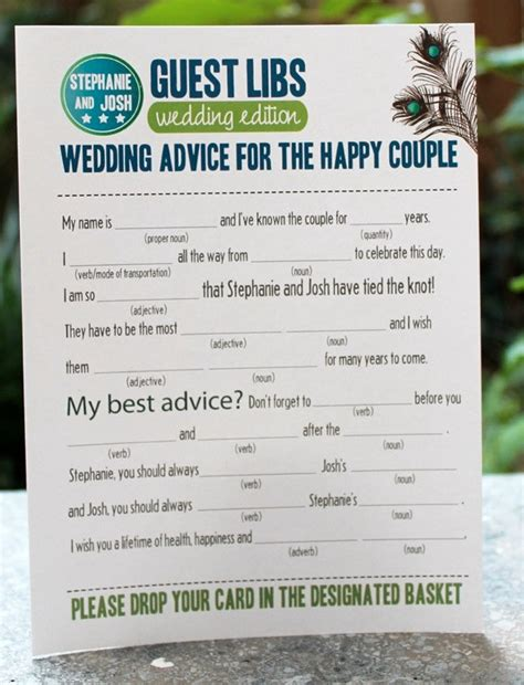 mad libs for wedding guests wedding guest mad libs via etsy becoming a wedding