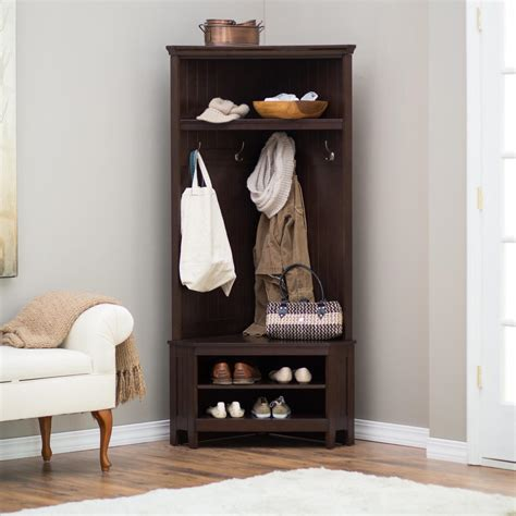 corner coat rack and bench entryway storage bench corner hall tree furniture wood