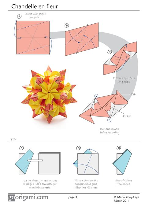 Origami Flower Diagrams - chandelle kusudama by sinayskaya diagram go origami