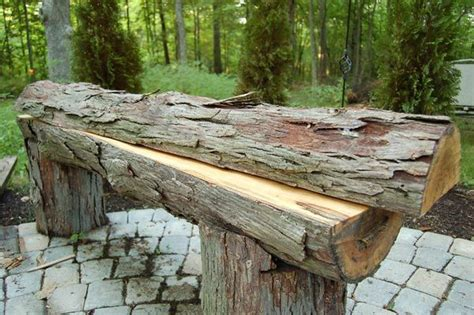 how to build a log bench pin by jordan muir on grilling firepit pinterest