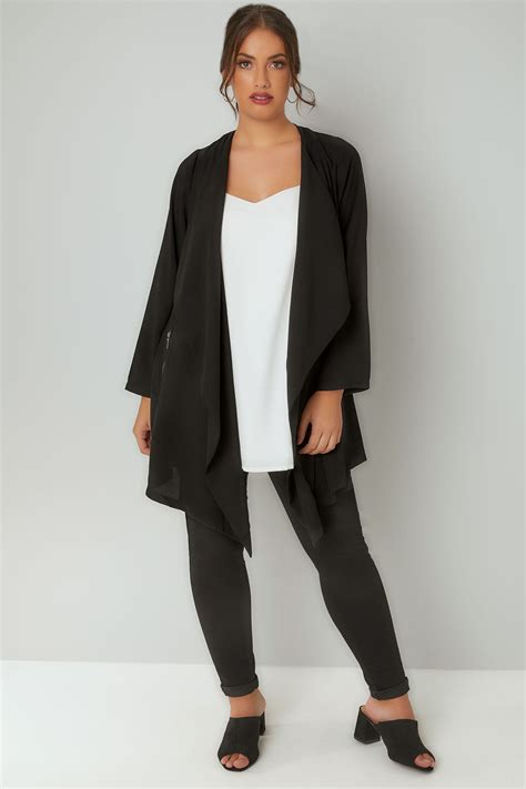 Address Finder From Name And Town Black Crepe Longline Waterfall Jacket Plus Size 16 To 32
