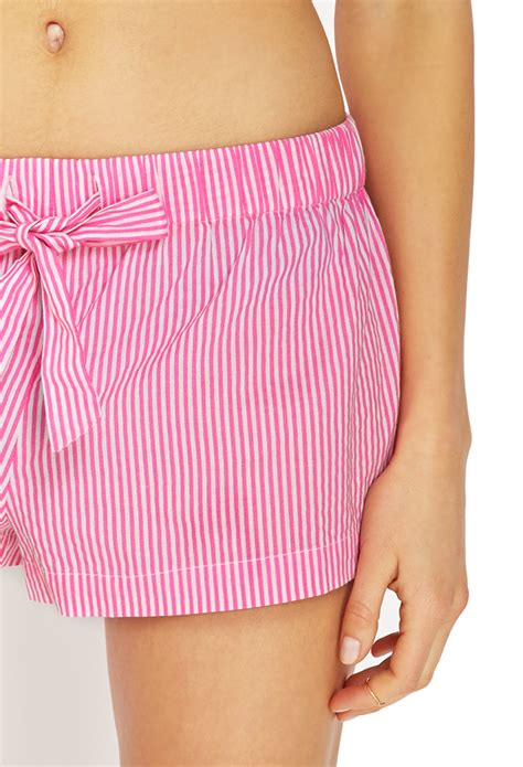 Pink Stripe Shorts From Delias by Forever 21 Striped Pj Shorts In Pink Lyst