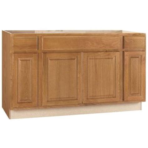 Kitchen Sink Base Hton Bay 60x34 5x24 In Hton Sink Base Cabinet In Medium Oak Ksb60 Mo The Home Depot