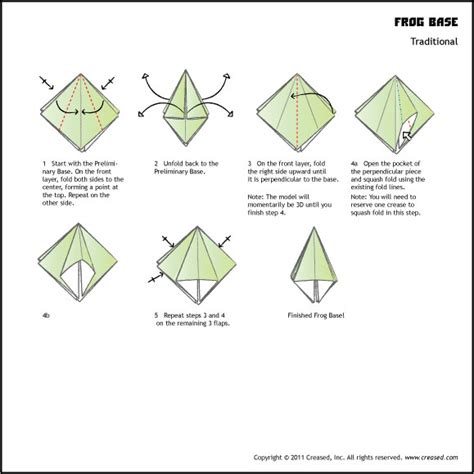 Frog Base Origami - creased magazine for paper folders