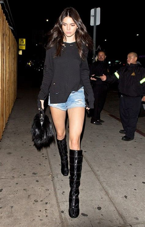 The Knee Boot Stylecrazy A Fashion Diary by Kendall Jenner Wore Shorts With Knee High Boots At A