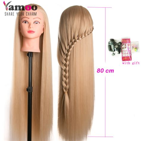 blonde mannequin hairstyles with rubber bands head dolls for hairdressers 80cm hair synthetic mannequin