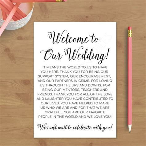 wedding invitation welcome message printable wedding welcome letter instant