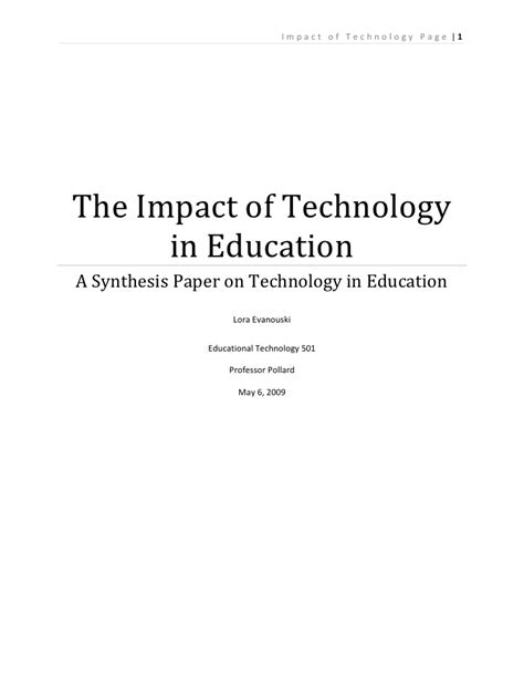 thesis about technology in education impact of technology in education