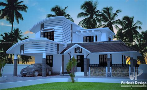 curved roof house design kerala home design