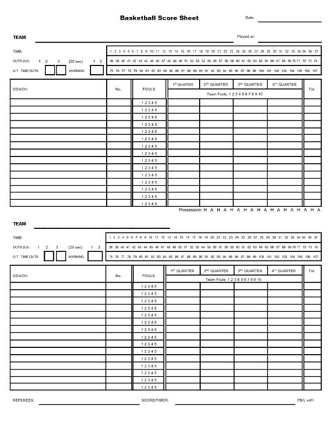 best photos of printable basketball stat sheet template