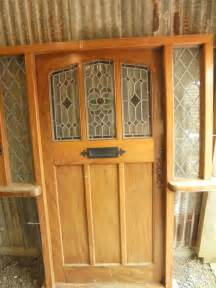 Recycled Front Doors Reclaimed Wood Front Door With Stained Glass Authentic Reclamation