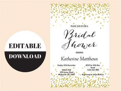 editable bridal shower invitation templates editable gold confetti bridal shower invitation magical