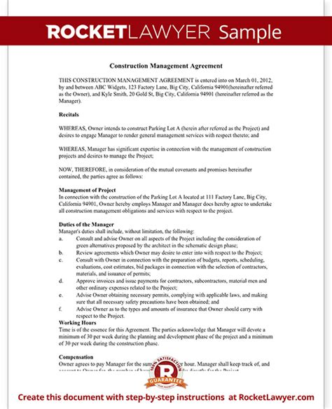 Construction Management Agreement Contract Form With Sle Management Agreement Template