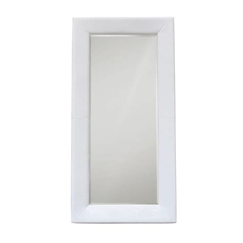 diamond sofa zen accent floor mirror wrapped in white croc beyond stores
