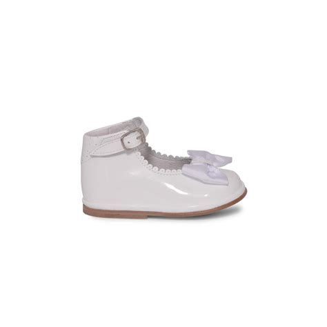 baby shoes white patent leather shoes with bow