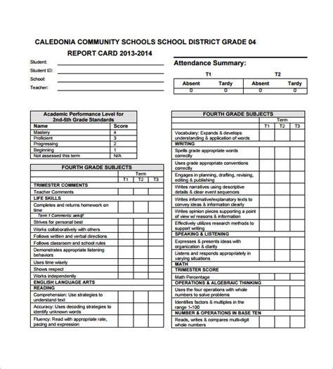 kindergarten report card template progress report card templates 18 free printable word