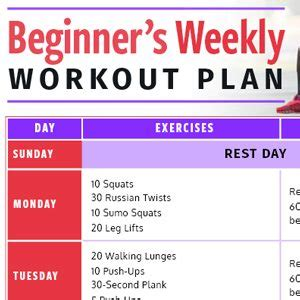 weekly workout plan beginner s weekly workout plan