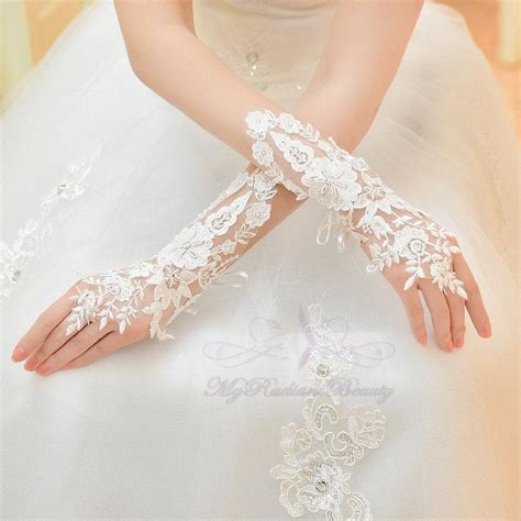 bridal gloves lace gloves floral rhinestone