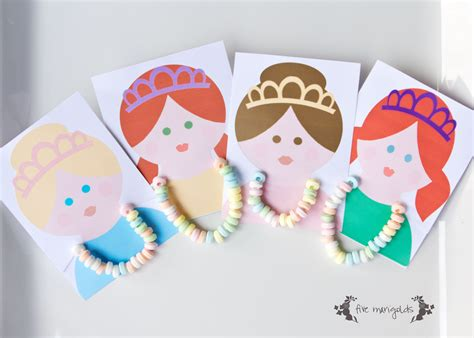 Princess Party Giveaways - princess party favors candy necklace cards five marigolds