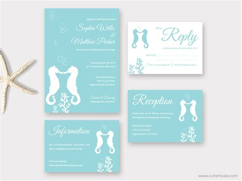 printable wedding invitations beach beach wedding invitation printable seahorse wedding