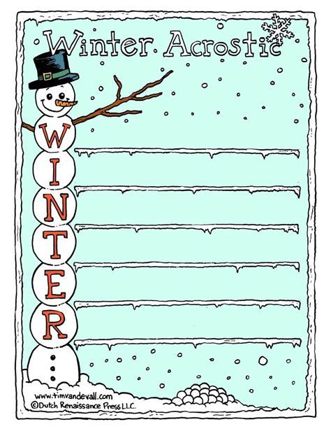 winter acrostic poem template tims printables