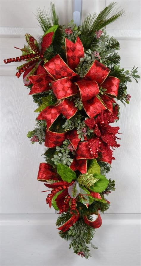 elegant christmas poinsettia and outdoor decorations on