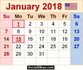 Calendar 2018 With Holidays Usa Printable January 2018 Calendar Printable Template With Holidays Pdf